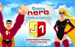 "Poster mit superman und superwoman für das Projekt ""J1 - every hero needs a doctor"""